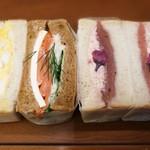 ワズ サンドイッチ - Wa'sサーモンディルポテミックス、春霞おぼろ桜甘酒クリームサンド