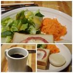 82666017 - ◆ドリンクは珈琲を。 ◆キャロットラベとレタスが添えられ、キャロットラペが美味しい。