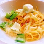 82674289 - 小ヤリイカと青梗菜のクリームソース柚子風味 スパゲッティーニ