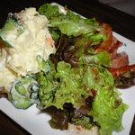 えべっさん - ポテトサラダ&厚切りベーコン、このベーコン、美味しかった!