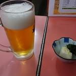 ラーメン 秦々 - 生ビール、お通し