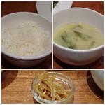 ビストロジドリーノ - ◆ご飯は半分にして頂きました。味わいは普通。 ◆お味噌汁。 ◆金平ごぼうは唐辛子が効いていて美味しい。