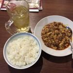 天富園 - 麻婆豆腐+ご飯+ジャスミン茶セット ¥1,280-