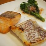 寿し久 - 鯛とサーモンの麹漬け