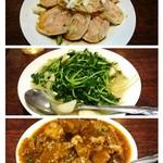 82733037 - 小皿の蒸し鶏・豆苗炒め・牛バラ肉のうま煮