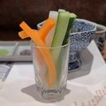 芦屋天がゆ - すてぃっく野菜3品飾り