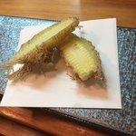 関西風あぎむん・天ぷら いっちゃん - このヤングコーンがデカくてうまい。揚げ方も独特。