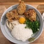 自家製さぬきうどんと肉 甚三 - 鶏天月見山しょうゆ(冷)