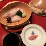 太庵 - お造り (白えび、平目)
