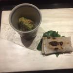 はた田 -  飯蛸とうるいの辛子味噌和え、からすみ餅