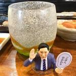 のだ麺 ~縁~ - 「焼酎(芋)」(ロック、380円)。下戸の井之頭五郎とは違い、「酒、おかわり」となるが、そういうセリフのカードは、もちろんない。
