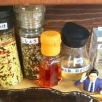 のだ麺 ~縁~ - よく見たら酢もあったので、「酢胡椒タレ」が出来るはずだが、気付くの遅すぎなオヤジ。