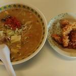 おいわけ - 料理写真:辛みそラーメン750円+げそ天150円