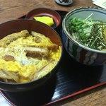 倭 - カツ丼と冷たい蕎麦のセット1030円♫