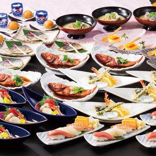 旬の魚のお刺身と飲み放題付きコースを各種ご用意♪♪♪