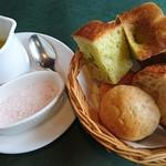 ビストロウー・ルー - フランスパン       春菊のフォカッチャ       はちみつ米粉パン