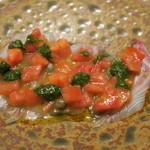 82810020 - 30年3月 淡路天然真鯛 トマト、バジルソース アップ