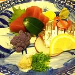 佳肴 - シマアジと鮪のお造り