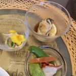 創作おうどん 遊佳 - 酢牡蠣とタコとアボガドの酢の物