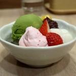 ガスト - 料理写真:いちごと宇治抹茶のクリームあんみつ