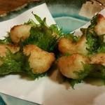 如菴 - 山芋と梅の大葉揚げ、480円。