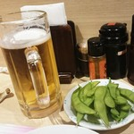 居酒屋 光 - お通しとビール