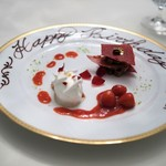 レストラン クレッセント - 苺のフィヤンテイーヌと牛乳のソルベ フレーズジュビレソース