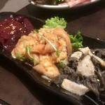 食道園 - 左からレバー、ホルモン、センマイ〜♪( ´▽`)