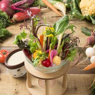 農家さん直送の季節の野菜料理