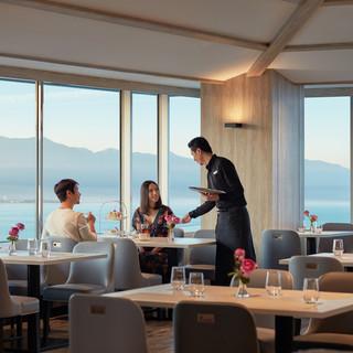 地上12階から望む雄大な景色とともに優雅なひと時を過ごす