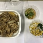 すき家 - 料理写真:牛丼中盛り、おろしポン酢、サラダ
