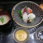 ふじや - 湯葉汁 焼粟麩 針茗荷 鯉薄造り 鰻落とし