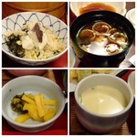 石蔵 - ◆左上:鯛飯。 ◆右上:お味噌汁(お代わり可能) ◆左下:香の物。 ◆右下:茶碗蒸し。鶏肉・銀杏・椎茸などが入り、良い味わい。