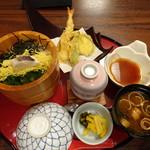 石蔵 - ◆鯛飯天ぷらランチ(1000円:税込) 鯛飯・天ぷら・天つゆ・茶碗蒸し・香の物・お味噌汁(お代わり可能)などのセット。