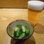 女とみそ汁 - お通し&ビール(///ω///)♪