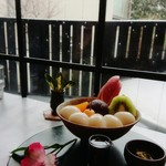 茶房 雲母 - 白玉フルーツクリームあんみつ。アイス抜きで¥900