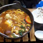 82889063 - 味噌煮込みデラックス(¥1050)。天ぷら・玉子・肉・かしわ・餅、ようけ具が入っとる!