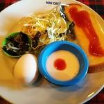 NINICAFE - モーニング(ジャムトースト、ゆで卵、サラダ、小鉢、ヨーグルト)