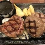 ステーキガスト - 料理写真:【2018.3.8】熟成赤身ログステーキ&牛っとこぶしハンバーグ(スモール)¥1727