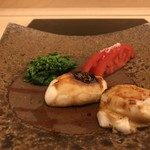 鮨 そえ島 - ふぐ白子の醤油焼き。