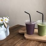 ソイソイカフェ - 豆乳スムージーも初めました!本部産の無農薬野菜のグリーンスムージー。フルーツスムージーは種類をお選びできます。