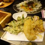 酒亭 道や - 浅利のかき揚げと大浅利の天ぷら