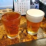 新潟駅クラフトビール館 - 南信州ビール・ゴールデンエール(ハーフパイント)(左)