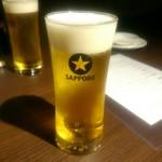 楽関記 - 生ビール(コースのフリードリンク)