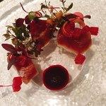 82975177 - 前菜1 桜ぶり フランボワーズ 赤大根 ビーツ