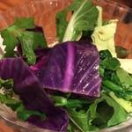 82981950 - 糸島野菜のサラダ 彩りきれいなMIX野菜。セロリの葉っぱや紫キャベツまでわかるけど見慣れないお野菜は甘みがあるものも、苦味があるものもあり新鮮でした。