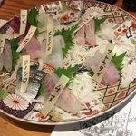 82981959 - 刺し盛り8種 魚種はあんまり詳しくなく、聞いたことがないお魚の名前もいろいろ。                       せっかく魚種が書いてあるので検索しながら食べました。                       弾力もあり、熟成感ある濃厚なお魚の食感。美味しかった〜!
