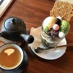 カフェ青 - 抹茶パフェセット(税込1,000円)