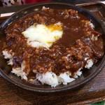 奥三河製麺 - 温たまのっけジビエカレー(680円)
