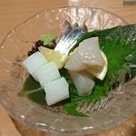 玉乃光酒蔵 梅田店 - 刺盛り3種(アオリイカ・しめ鯖・すずき)920円